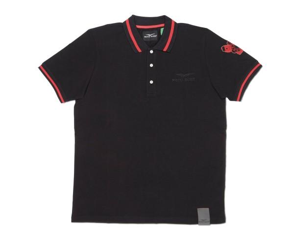 Moto Guzzi Herren Polo Shirt Classic Baumwolle schwarz
