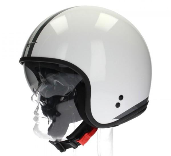 Moto Guzzi Jethelm, White Stripes, weiss