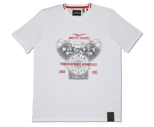 Moto Guzzi Herren T-Shirt Classic Baumwolle weiss